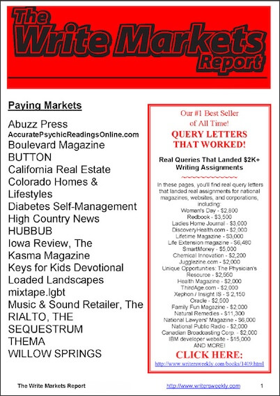 The Write Markets Report - 11 ISSUES PER YEAR! by Angela Hoy