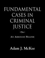 Fundamental Cases in Criminal Justice by Adam J. McKee